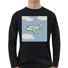 Airplane Fly Cloud Blue Sky Plane Jpeg Long Sleeve Dark T Shirts