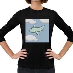 Airplane Fly Cloud Blue Sky Plane Jpeg Women s Long Sleeve Dark T Shirts