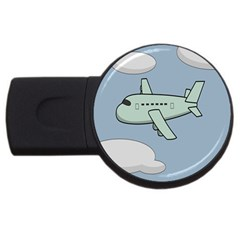 Airplane Fly Cloud Blue Sky Plane Jpeg Usb Flash Drive Round (4 Gb)