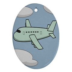 Airplane Fly Cloud Blue Sky Plane Jpeg Oval Ornament (two Sides)