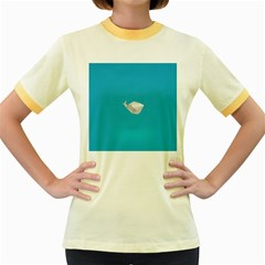 Animals Whale Blue Origami Water Sea Beach Women s Fitted Ringer T Shirts