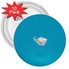 Animals Whale Blue Origami Water Sea Beach 3  Buttons (10 Pack)
