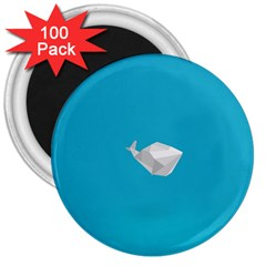 Animals Whale Blue Origami Water Sea Beach 3  Magnets (100 Pack)
