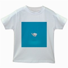 Animals Whale Blue Origami Water Sea Beach Kids White T Shirts