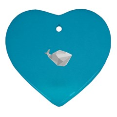 Animals Whale Blue Origami Water Sea Beach Heart Ornament (two Sides)