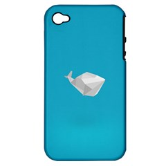 Animals Whale Blue Origami Water Sea Beach Apple Iphone 4/4s Hardshell Case (pc+silicone)