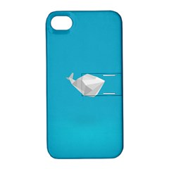 Animals Whale Blue Origami Water Sea Beach Apple Iphone 4/4s Hardshell Case With Stand