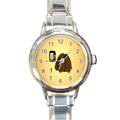 Bear Meet Bee Honey Animals Yellow Brown Round Italian Charm Watch