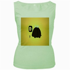 Bear Meet Bee Honey Animals Yellow Brown Women s Green Tank Top
