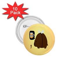 Bear Meet Bee Honey Animals Yellow Brown 1 75  Buttons (10 Pack)