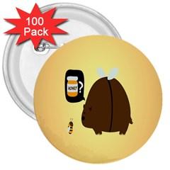 Bear Meet Bee Honey Animals Yellow Brown 3  Buttons (100 Pack)