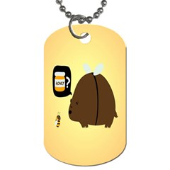 Bear Meet Bee Honey Animals Yellow Brown Dog Tag (one Side)