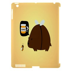 Bear Meet Bee Honey Animals Yellow Brown Apple Ipad 3/4 Hardshell Case (compatible With Smart Cover)