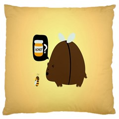 Bear Meet Bee Honey Animals Yellow Brown Large Cushion Case (two Sides)