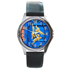 Animal Hare Window Gold Round Metal Watch