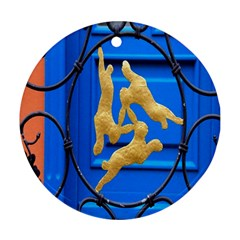 Animal Hare Window Gold Ornament (round)