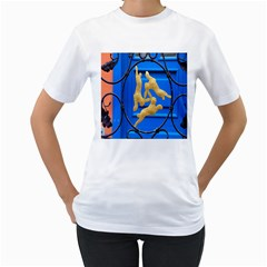 Animal Hare Window Gold Women s T-Shirt (White) (Two Sided)