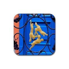 Animal Hare Window Gold Rubber Square Coaster (4 Pack)