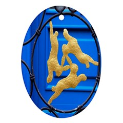 Animal Hare Window Gold Oval Ornament (Two Sides)