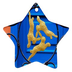 Animal Hare Window Gold Star Ornament (Two Sides)