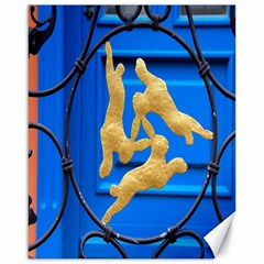 Animal Hare Window Gold Canvas 16  X 20