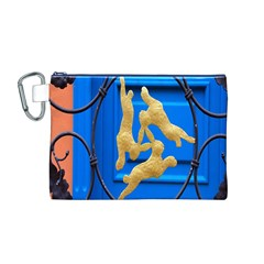 Animal Hare Window Gold Canvas Cosmetic Bag (M)