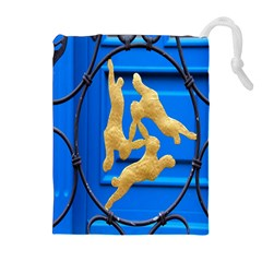 Animal Hare Window Gold Drawstring Pouches (Extra Large)