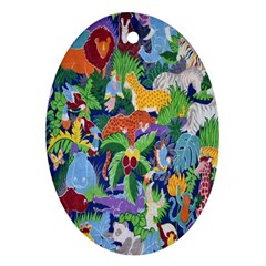 Animated Safari Animals Background Ornament (Oval)