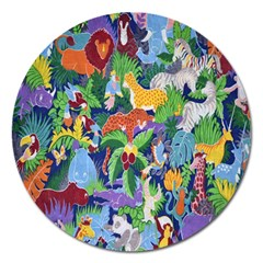 Animated Safari Animals Background Magnet 5  (Round)