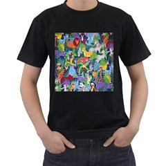 Animated Safari Animals Background Men s T-Shirt (Black) (Two Sided)