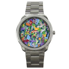 Animated Safari Animals Background Sport Metal Watch