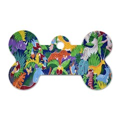 Animated Safari Animals Background Dog Tag Bone (Two Sides)