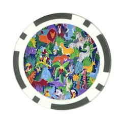 Animated Safari Animals Background Poker Chip Card Guard (10 pack)