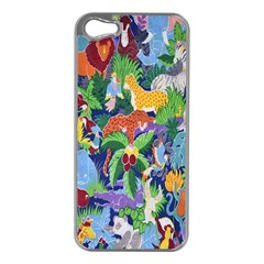 Animated Safari Animals Background Apple iPhone 5 Case (Silver)
