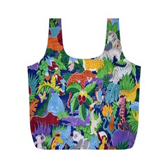 Animated Safari Animals Background Full Print Recycle Bags (M)