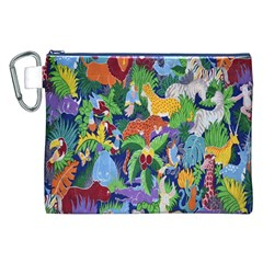 Animated Safari Animals Background Canvas Cosmetic Bag (XXL)