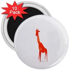 Animal Giraffe Orange 3  Magnets (10 Pack)