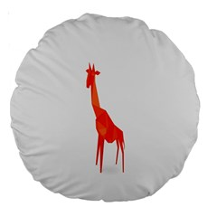 Animal Giraffe Orange Large 18  Premium Round Cushions