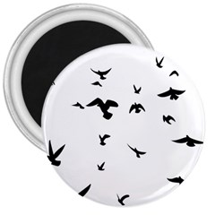 Bird Fly Black 3  Magnets