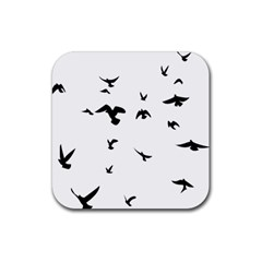 Bird Fly Black Rubber Square Coaster (4 Pack)