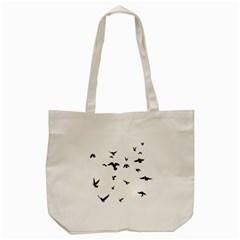 Bird Fly Black Tote Bag (cream)