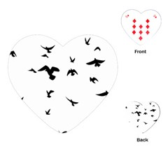 Bird Fly Black Playing Cards (heart)