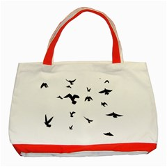 Bird Fly Black Classic Tote Bag (red)