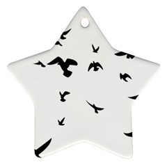 Bird Fly Black Star Ornament (two Sides)