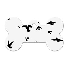Bird Fly Black Dog Tag Bone (two Sides)