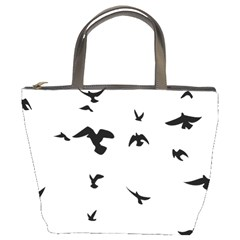Bird Fly Black Bucket Bags