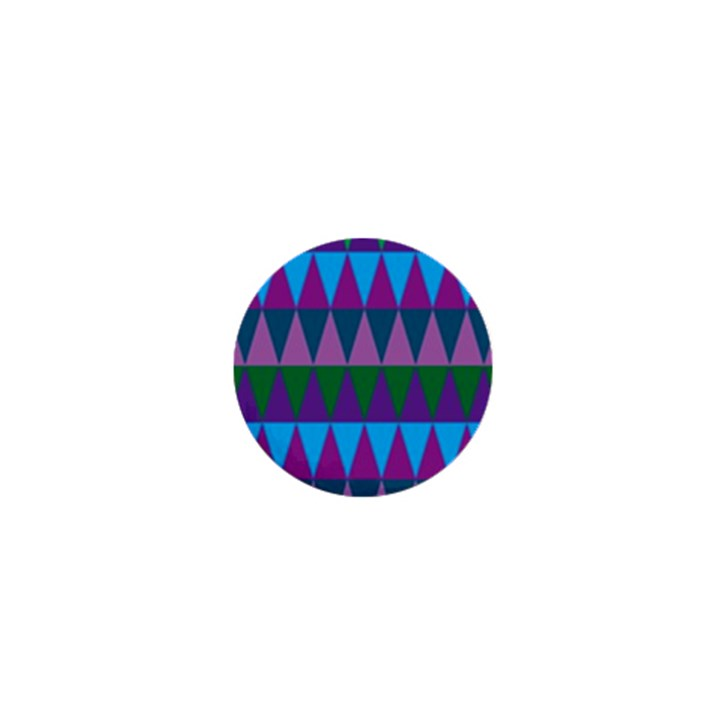 Blue Greens Aqua Purple Green Blue Plums Long Triangle Geometric Tribal 1  Mini Buttons