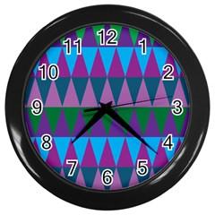 Blue Greens Aqua Purple Green Blue Plums Long Triangle Geometric Tribal Wall Clocks (black)