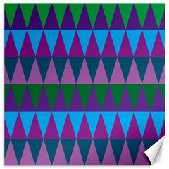 Blue Greens Aqua Purple Green Blue Plums Long Triangle Geometric Tribal Canvas 16  X 16