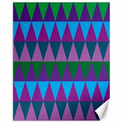 Blue Greens Aqua Purple Green Blue Plums Long Triangle Geometric Tribal Canvas 16  X 20